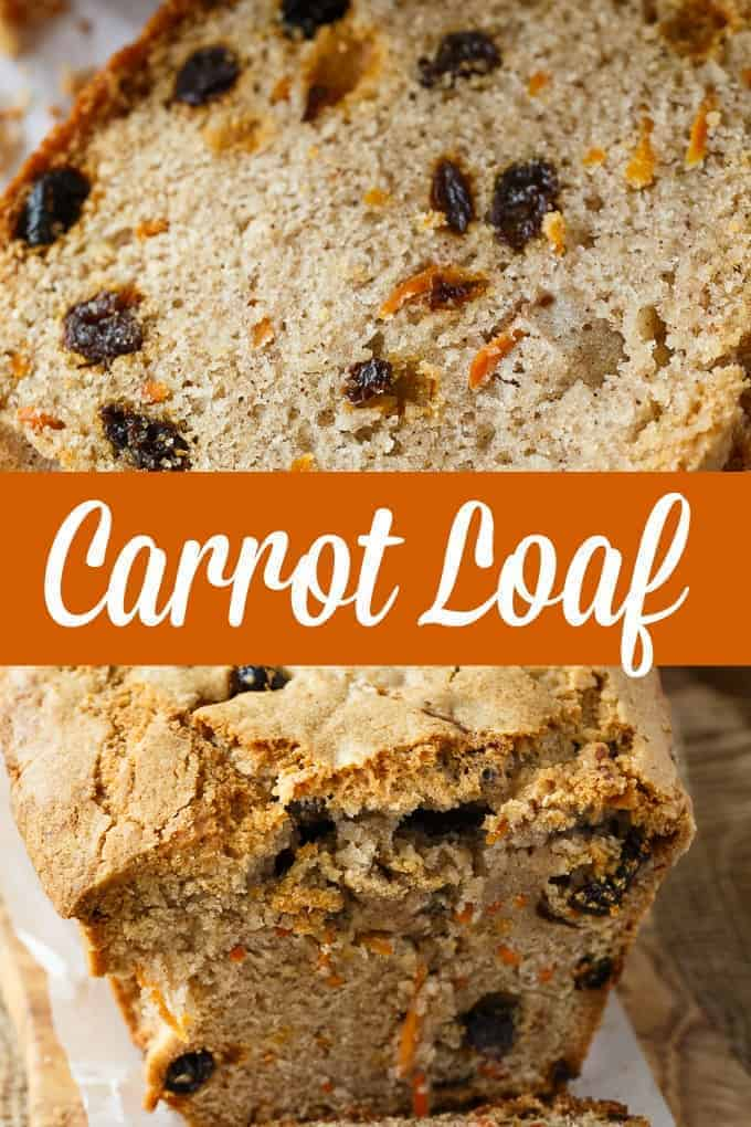 Carrot Loaf - A deliciously spicy fall bread! Loaded with carrots, raisins and a hint of sweetness.