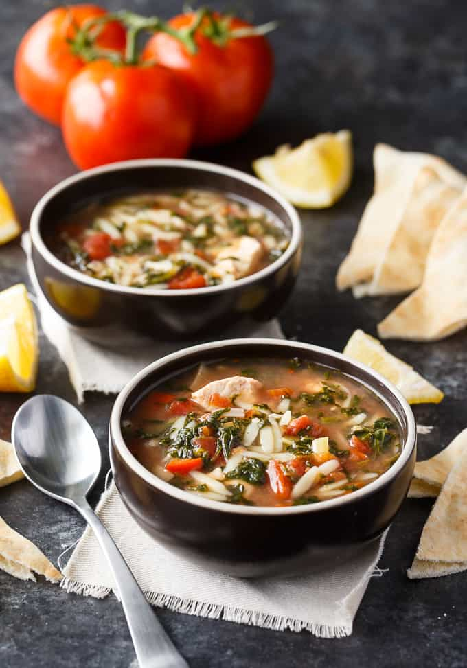 Greek Chicken Orzo Soup - Comfort food made in the slow cooker. This delicious soup has a Greek twist and is packed full of flavour.