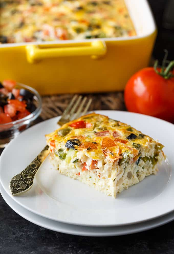 Mediterranean Brunch Bake - Save yourself time and do all the prep the night before. You'll love how much flavour is packed into this holiday breakfast/brunch recipe!