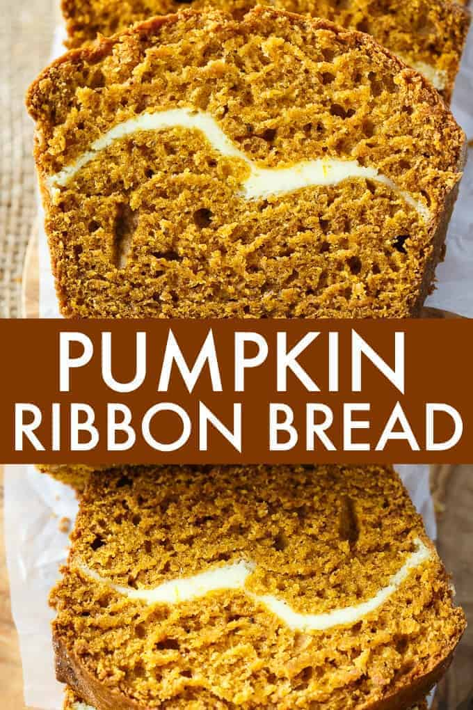 Pumpkin Ribbon Bread - Moist, delicious and packed full of pumpkin flavour. You'll love the decadent and creamy cheesecake filling inside every slice.