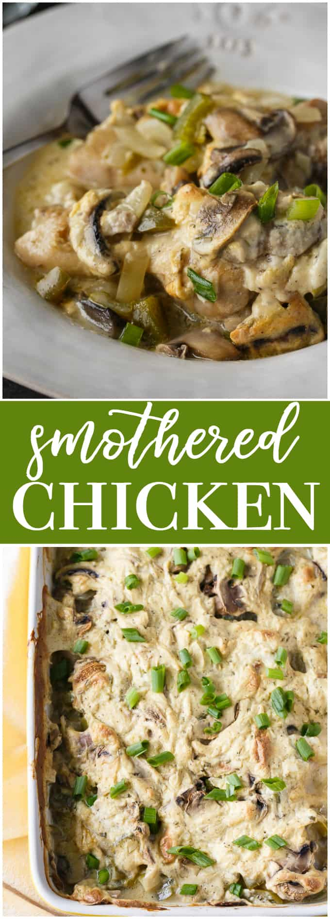 Smothered Chicken - Cozy, comfort food perfect to enjoy in the frosty weather.