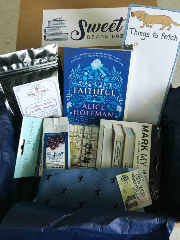Sweet Reads Box - This Canadian subscription box features a bestselling book, a sweet treat, a drink and other themed goodies!