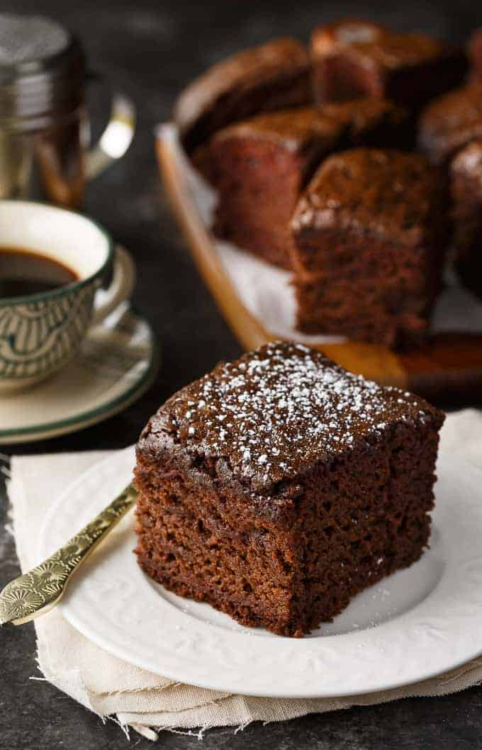 Wacky Cake - Moist, chocolatey and easy to make! This vintage cake was popular in the Depression era and contains no butter, milk or eggs.