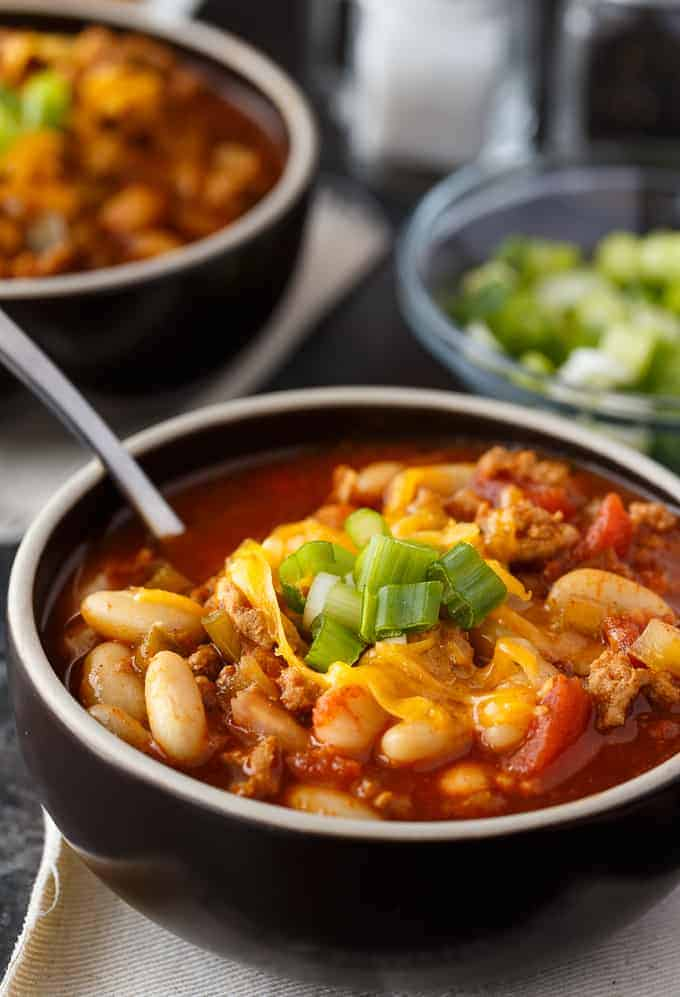 Quick White Bean & Turkey Chili - This Instant Pot chili is easy to make and so delicious!