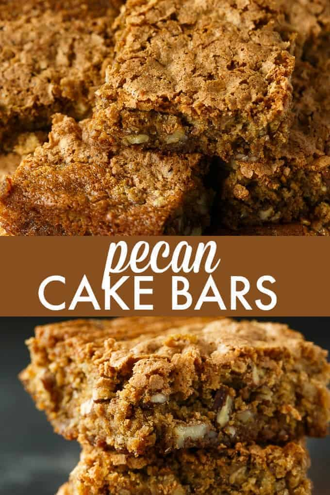 Pecan Cake Bars - Chewy, moist and incredibly delicious. The addition of pecans adds a lovely crunch to each bite.