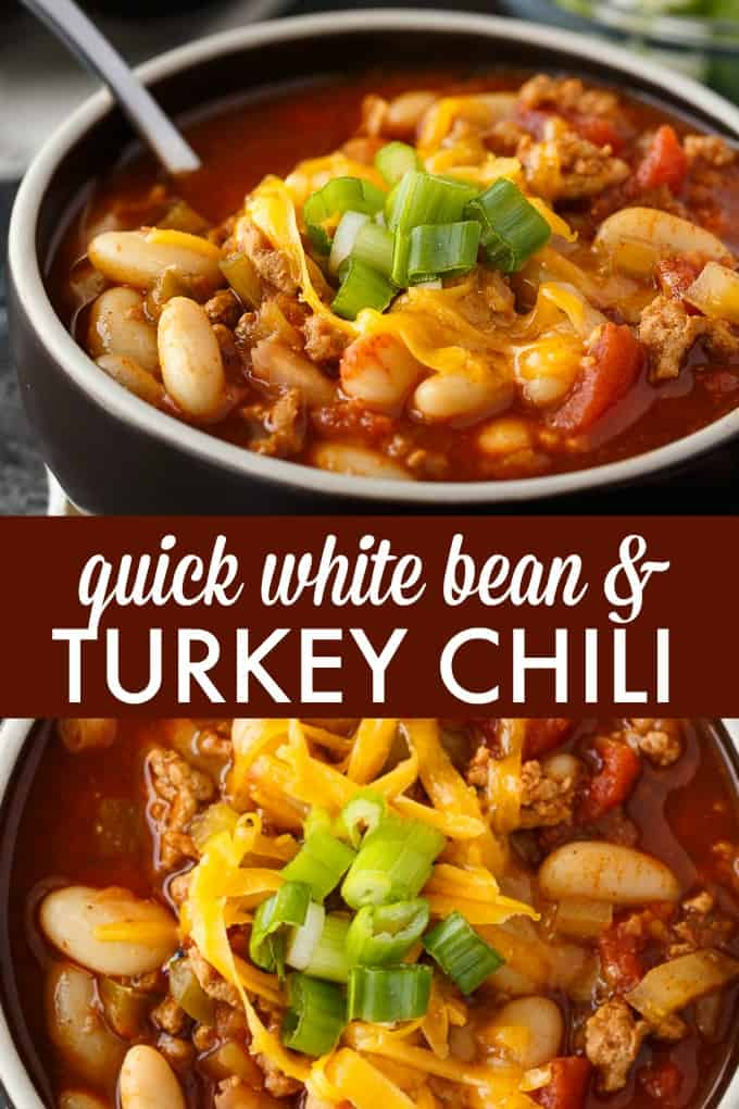 Quick White Bean & Turkey Chili - The fastest chili recipe! Make this simple chili in the Instant Pot with a homemade spice blend and lean turkey for a healthy meal in a flash.