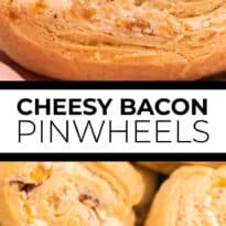 Cheesy Bacon Pinwheels - A dreamy holiday appetizer! Fluffy crescent rolls stuffed with bacon, onion, and two cheeses for a snack that's enough for a meal.