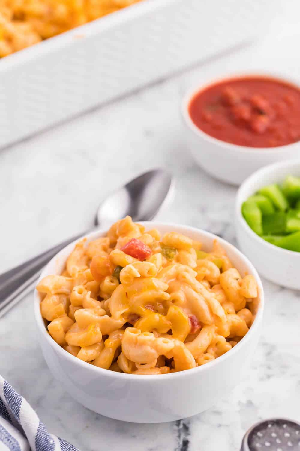 Salsa Macaroni & Cheese - Classic mac and cheese with a Tex Mex twist! Spice levels can be controlled by using medium or hot salsa, which is a great compliment to the cheesy, creamy sauce.
