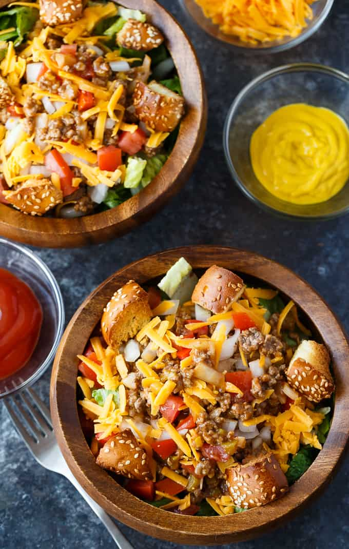 Cheeseburger Salad - Easy to whip up, tastes delicious and you can easily make it low carb by leaving out the bun croutons.