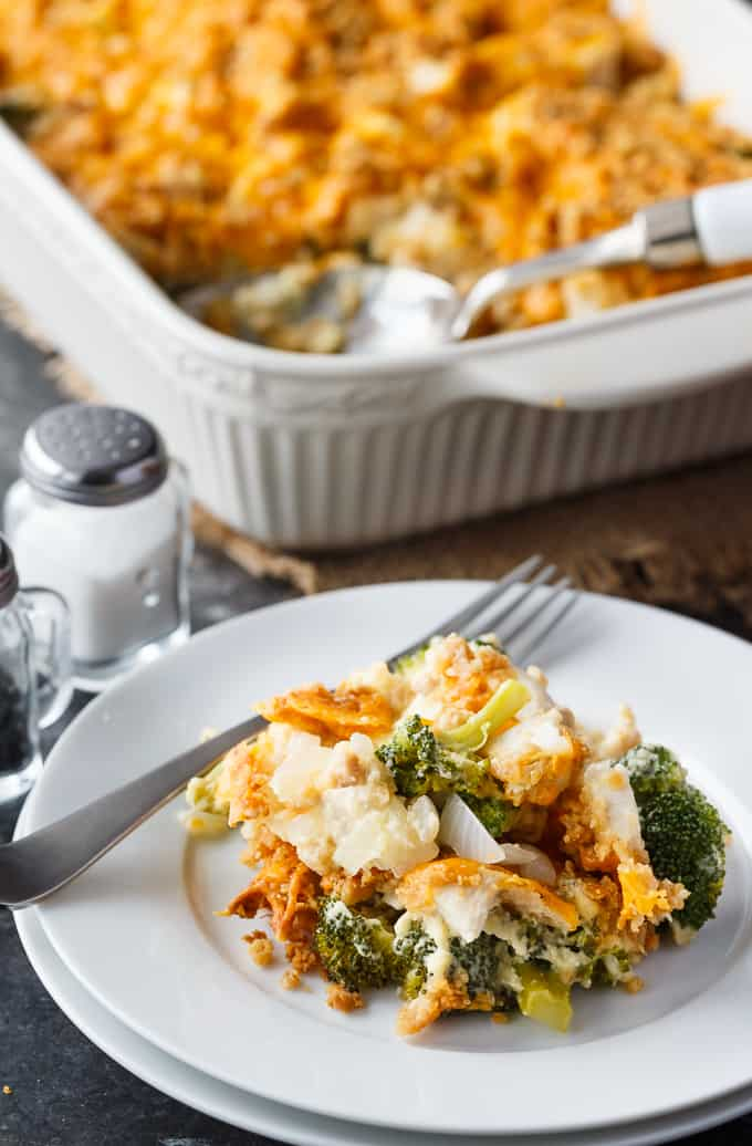 Chicken & Broccoli Casserole - A twist on my Mom's classic recipe! Enjoy as a comfort food meal or a holiday side dish.