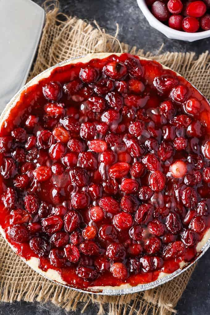 Cherry Cranberry Pie - A beautiful holiday dessert for any spread! Just five ingredients in this decadent and tart treat.