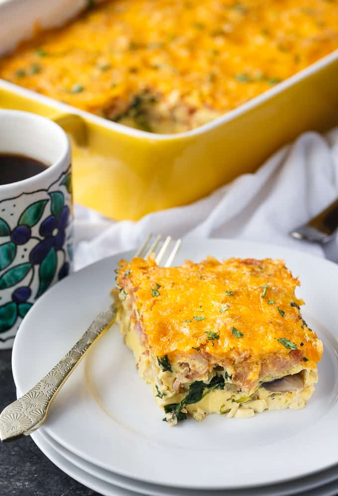 Bacon, Spinach & Mushroom Crustless Quiche - This dish has all the traditional flavours of quiche, but is lower carb with the elimination of the crust. With bacon, spinach and cheese, this is a winning flavour combination.