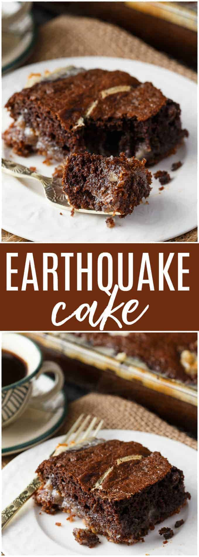 Earthquake Cake - A sweet chocolate cake mixed with condensed milk for an earth-moving dessert! Perfect for a family dinner or potluck.