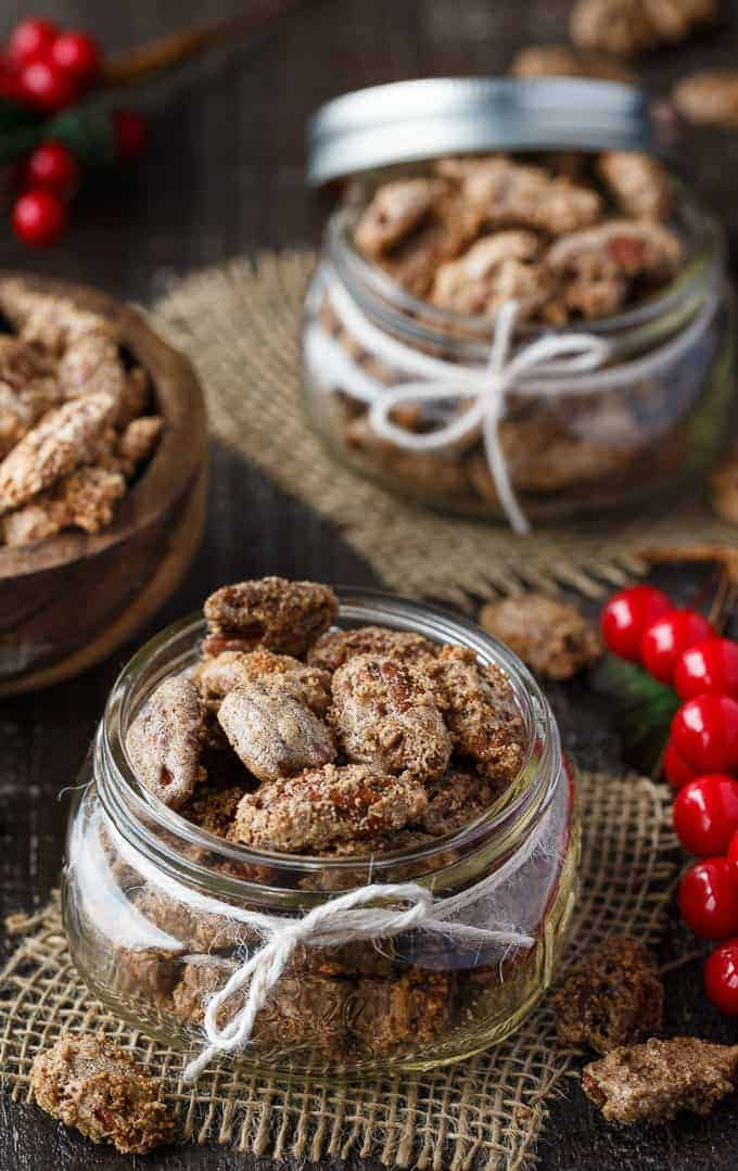 Sweet Spiced Pecans - A great DIY holiday gift! Roasted and candied pecans with a touch of cinnamon, clove, ginger, and nutmeg.