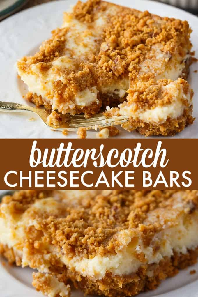 Butterscotch Cheesecake Bars - This cheesecake has a rich butterscotch base, smooth, creamy cheesecake filling and topped with some butterscotch crunch.