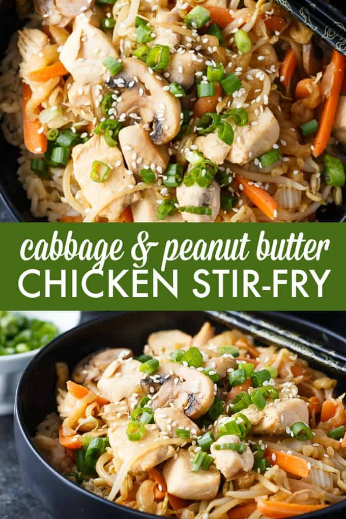 Cabbage & Peanut Butter Chicken Stir-fry - This healthy chicken recipe doesn't taste like it's low fat. It's filled to the brim with sautéed vegetables and mixed in a unique and flavorful stir-fry sauce.