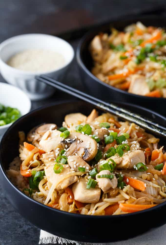 Cabbage & Peanut Butter Chicken Stir-fry - Packed full of healthy veggies like cabbage, bean sprouts and carrots with a unique flavourful sauce. The chicken adds a boost of protein.