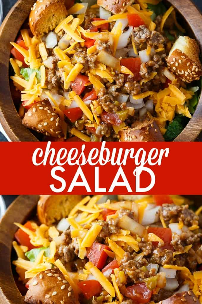 Cheeseburger Salad - The best burger salad recipe! Skip the bun and add cheesy ground beef, tomatoes, and hamburger bun croutons to this filling dinner salad.