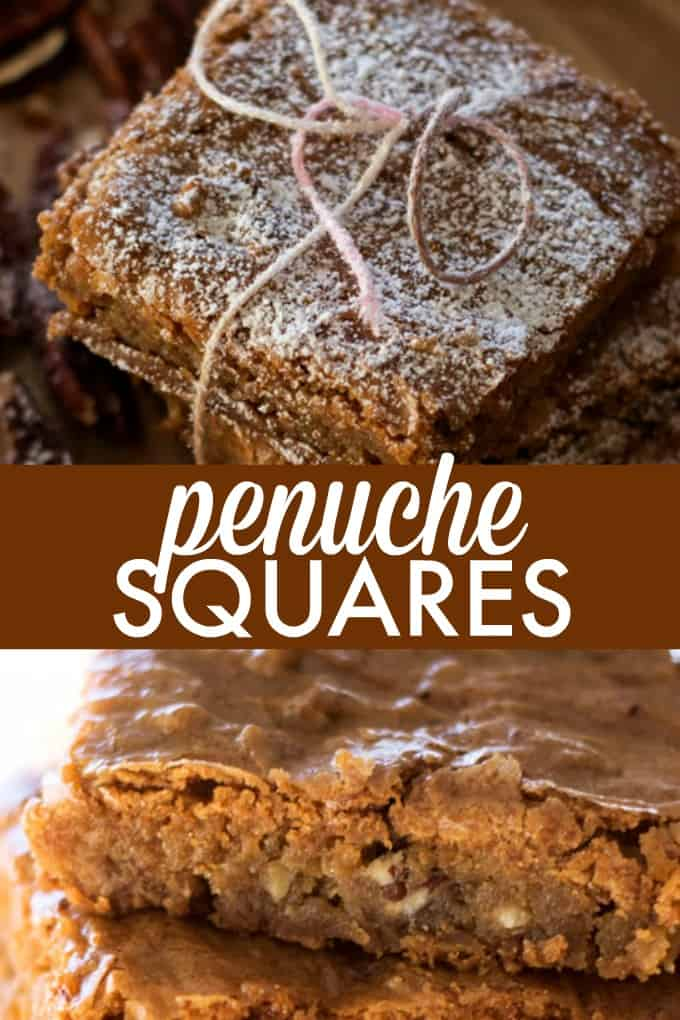 Penuche Squares - Delicious Southern dessert! Top with powdered sugar for a beautiful baked bar.