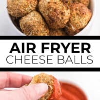 Air Fryer Mozzarella Balls - These homemade cheeseballs are bite sized, super seasoned, and air fried in minutes! A great make-ahead snack or appetizer.