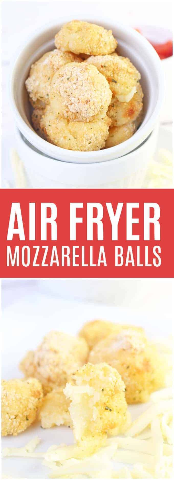 Air Fryer Mozzarella Balls - These homemade cheesesticks are bite sized, super seasoned, and made in minutes! A great make-ahead snack or appetizer.