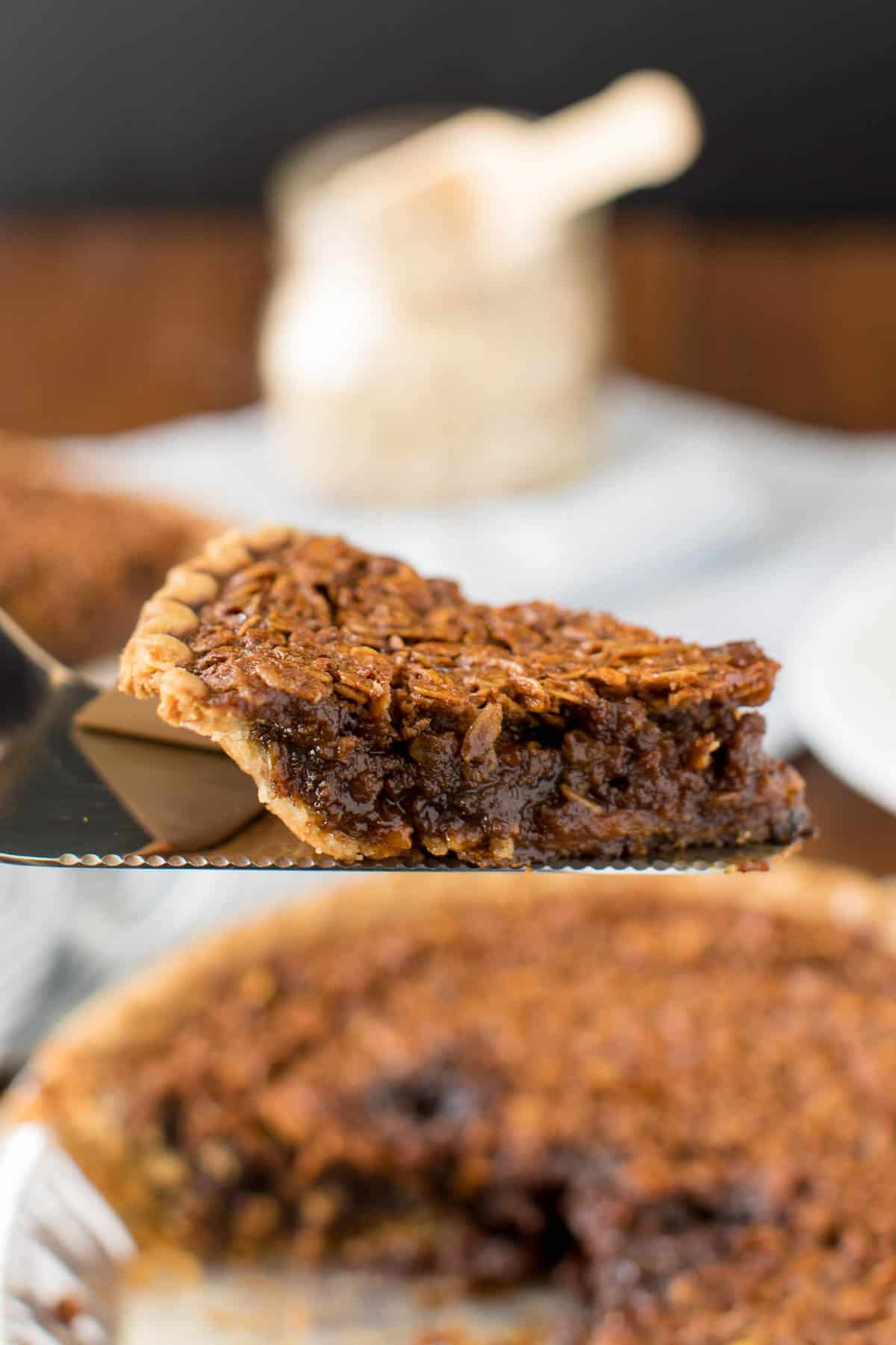 Oatmeal Pie - Old-fashioned dessert alert! A sweet, decadent pie topped with crunchy oats.