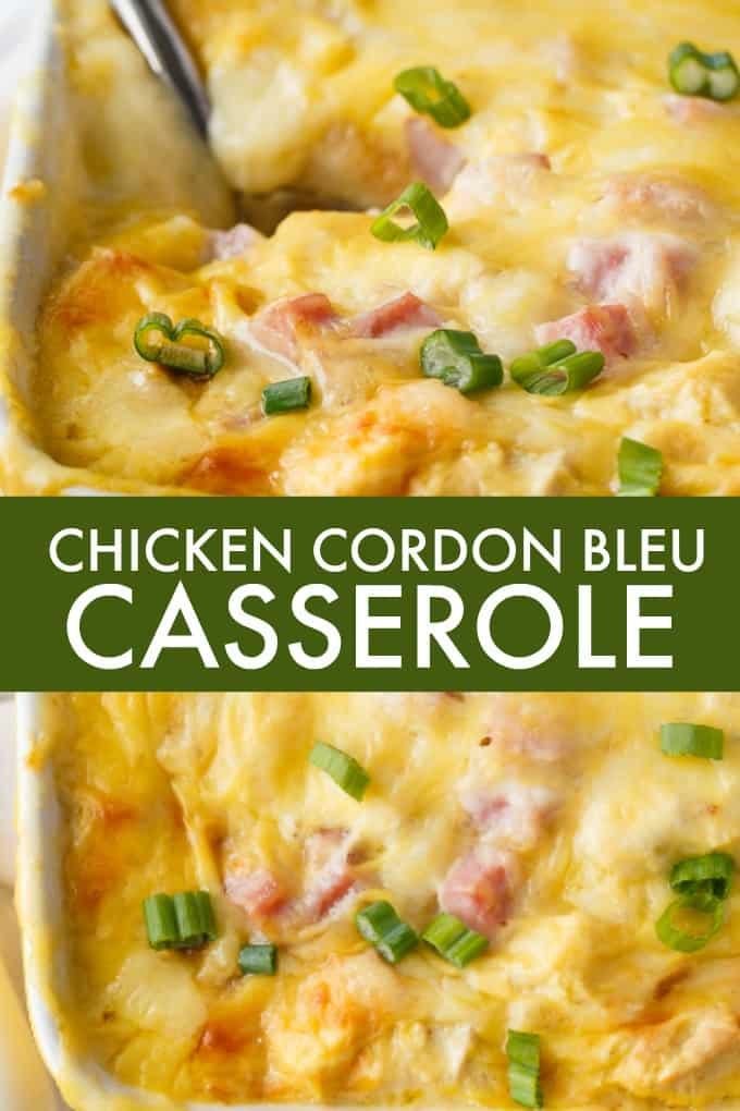Chicken Cordon Bleu Casserole - This recipe brings all the classic flavours of Chicken Cordon Bleu without the fuss! It's the perfect way to use leftover chicken, and when paired with Swiss cheese and bread, it is a comforting, easy and delicious meal.