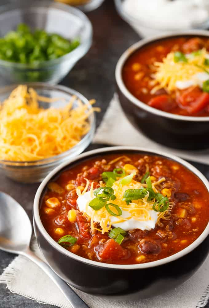 Taco Chili - The perfect chili fusion with a Mexican flair! This Taco Chili has received rave reviews from my friends and family.