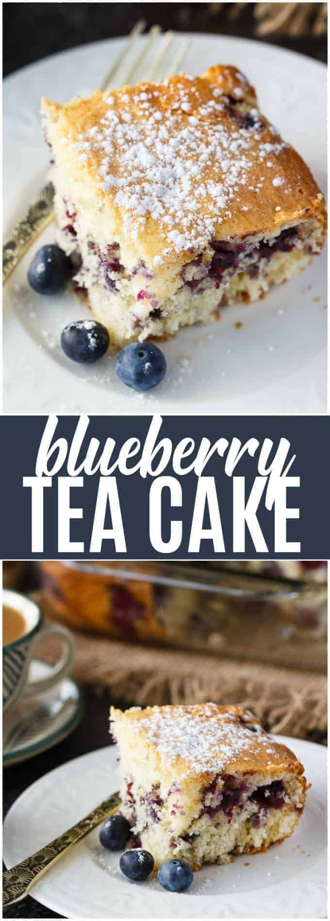 Blueberry Tea Cake - A light and elegant dessert perfect for high tea. Use fresh blueberries for a tangy, fruity treat.