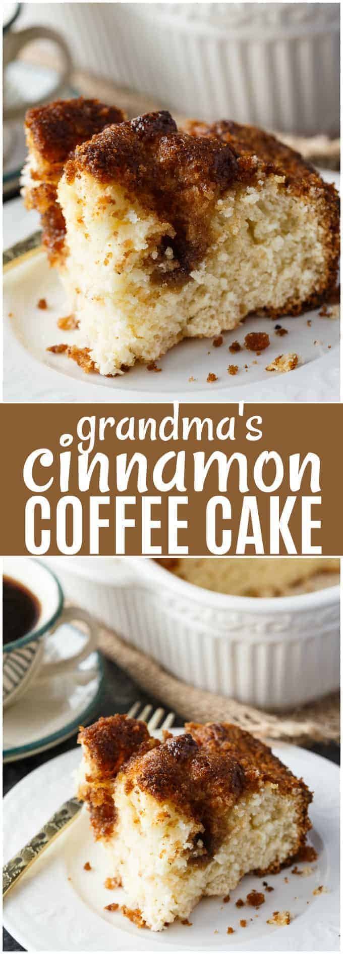 Grandma's Cinnamon Coffee Cake - Sweet, moist and melt-in-your-mouth good. This coffee cake recipe will bring back fond memories of visits at grandma's house.