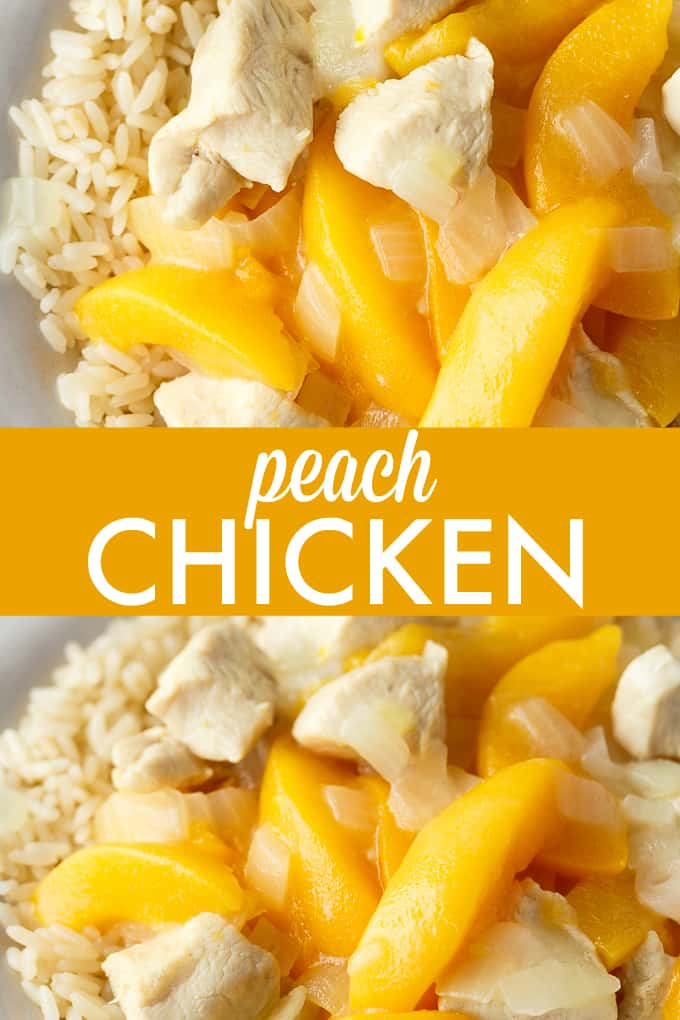 Peach Chicken - An easy dinner with cubed chicken breasts and sliced peaches. Perfectly sweet and delicious!