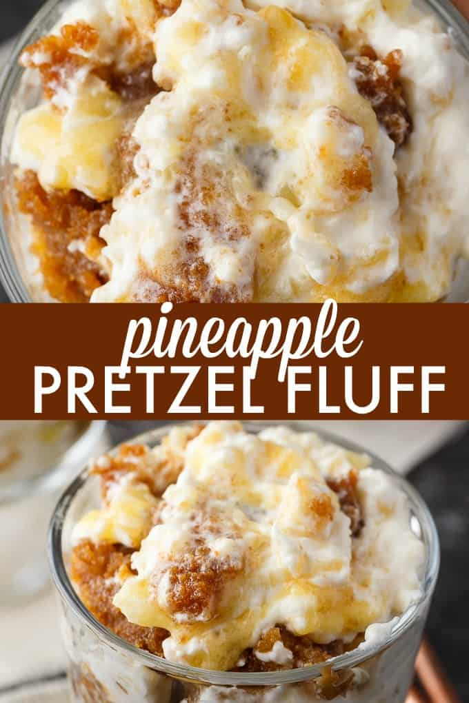 Pineapple Pretzel Fluff - Bet you can't eat just one! This creamy, rich dessert is one for the record books.