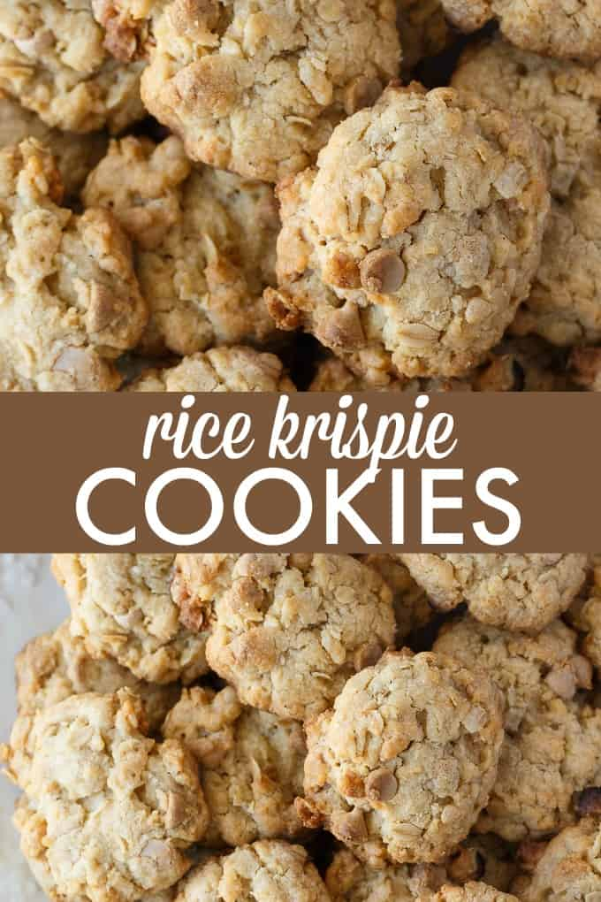 Rice Krispie Cookies - Packed full of YUM! This easy cookie recipe is made with Rice Krispies, coconut, oats and salted caramel chips.