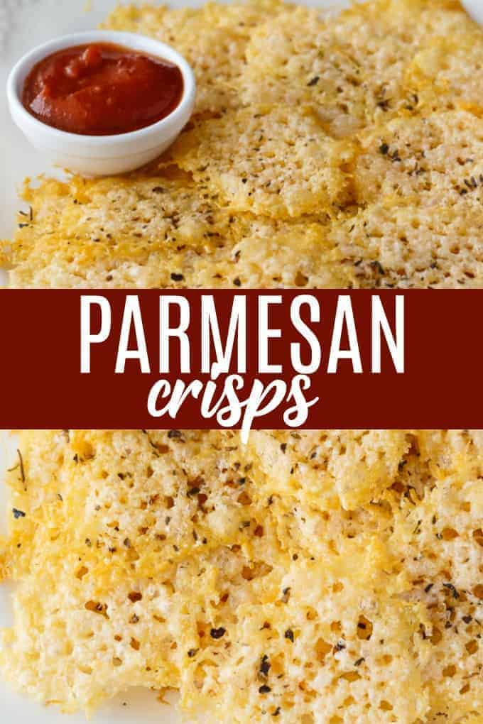 Parmesan Crisps - The perfect low carb snack! This easy recipe is guilt-free and delicious. Enjoy as an appetizer, in soup or salads or even as the bread for your sandwich.