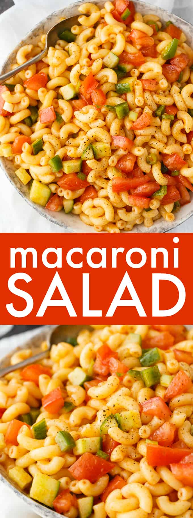 Macaroni Salad - This simple summer salad will be a hit at your BBQs and picnics! It's full of fresh crunchy veggies, tender macaroni and a sweet mouthwatering dressing.