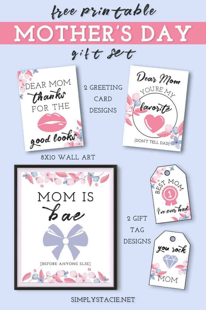 Free Printable Mother's Day Gift Set - Show mom how much she means with these Mother's day greeting cards, gift tags and wall art.