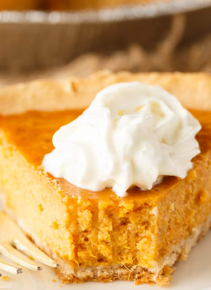 Sweet Potato Pie - The best easy addition to your Thanksgiving dessert spread. Just mix and bake to enjoy this creamy and sweet pie recipe.