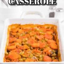 shipwreck casserole in a white casserole pan