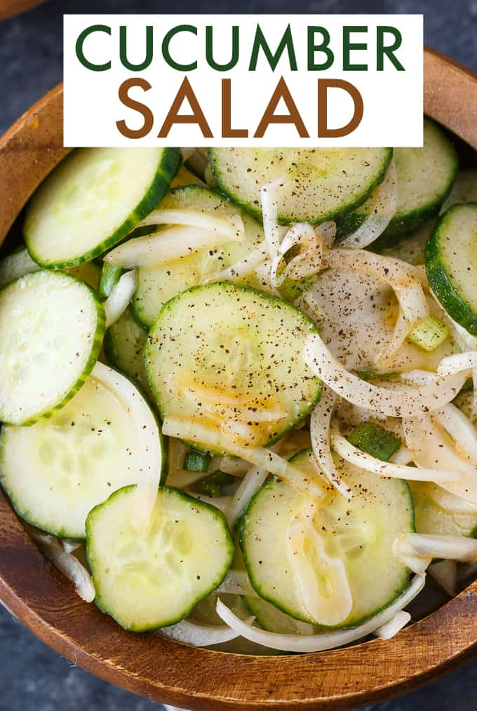 Cucumber Salad - Fresh, easy and so delicious! Each bite of this summer side dish is bursting with flavor of cucumbers, onions and a yummy vinegar dressing.