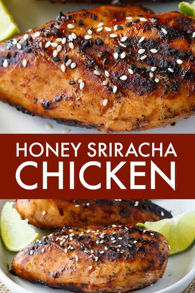 Honey Sriracha Chicken - Packed full of sweet and spicy flavour. The marinade is only four ingredients and can be whipped up in a matter of minutes. Grilled to perfection, this delicious summer dish is wonderful at backyard BBQs.