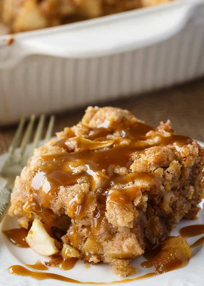 Apple Cake with Butterscotch Sauce - Moist apple cake filled with chunks of fresh apples. The sweet, silky butterscotch sauce is a delicious finishing touch.