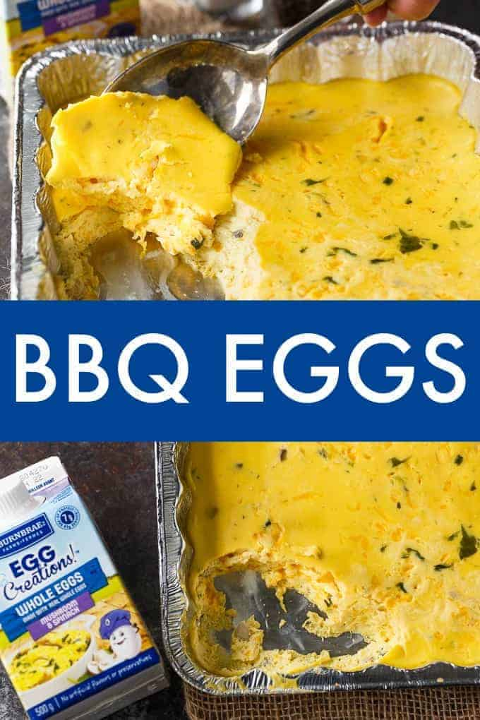BBQ Eggs - A delicious camping breakfast! So easy to make and tastes delicious. Creamy, cheesy and full of flavour!