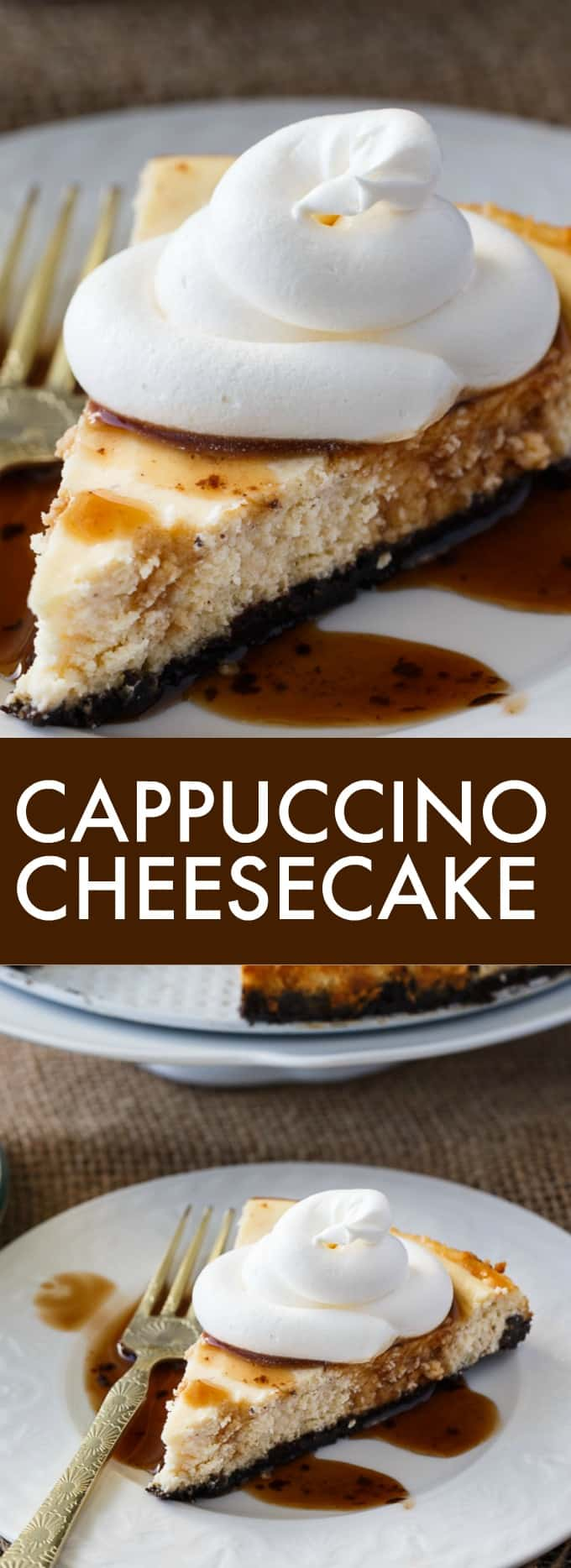 Cappuccino Cheesecake - Rich creamy cappuccino flavoured cheesecake filling is nestled on top of a chocolate Oreo crumb crust.