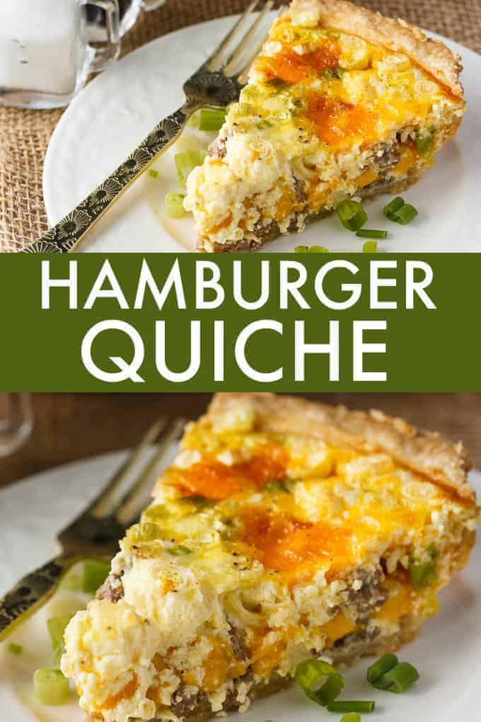 Hamburger Quiche - Dinner for breakfast! This quick and easy quiche is filled with all the flavors of a cheeseburger combined with fluffy scrambled eggs and veggies.