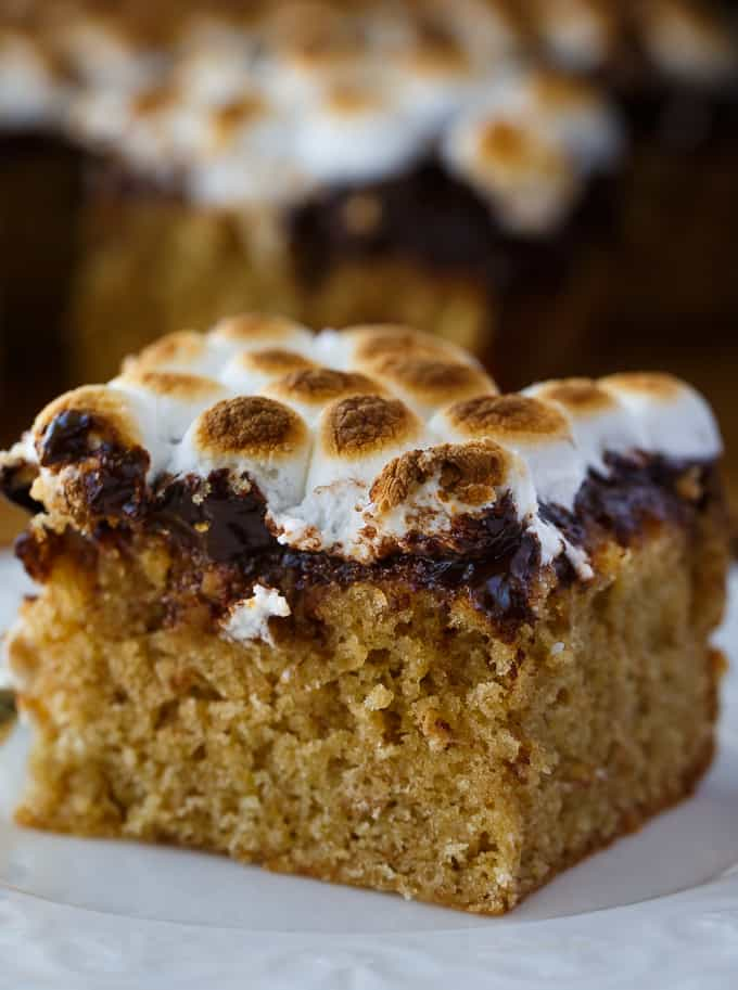 S'mores Cake - Craving s'mores? This cake has you covered. It's incredibly moist, sweet with layers of deliciousness.