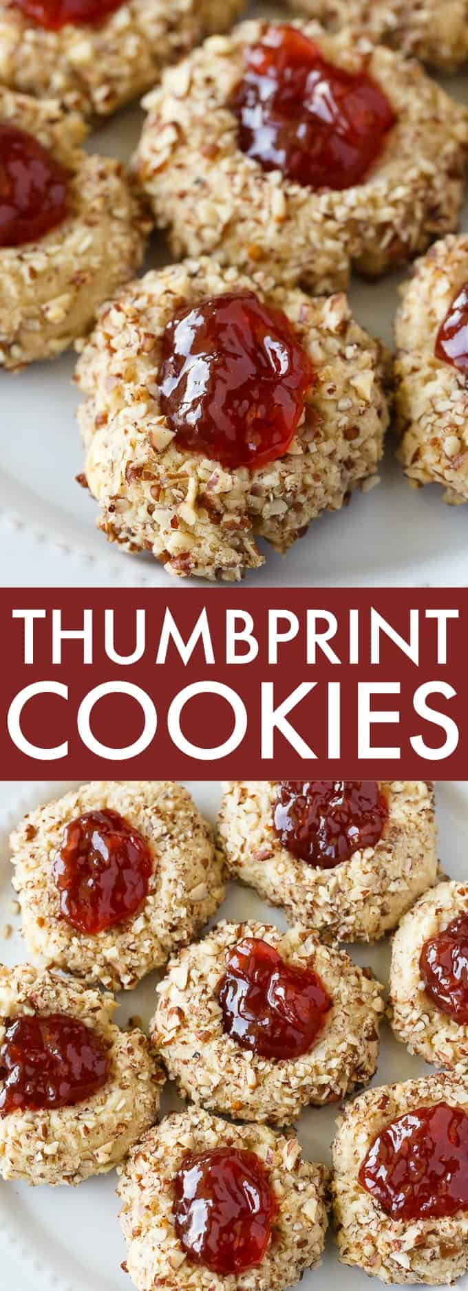 Thumbprint Cookies - A super simple, but festive classic Christmas cookie! Baked to perfection and topped with jam.
