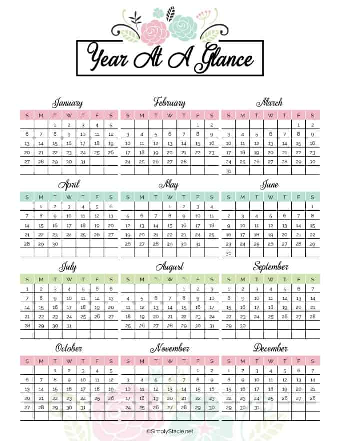 image relating to Printable Weight Loss Calendars named 2019 Per year Calendar Totally free Printable - Effortlessly Stacie