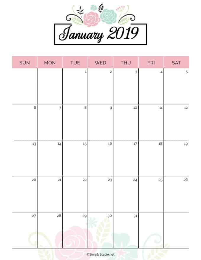 graphic relating to Printable Weight Loss Calendars named 2019 Annually Calendar Cost-free Printable - Effortlessly Stacie