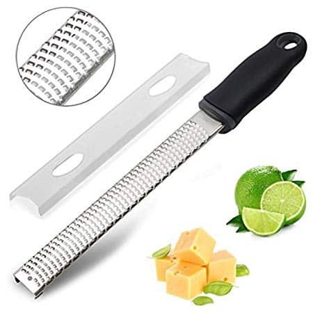 Orblue Zester Stainless Steel Grater, Cheese, Lemon, Ginger & Potato Zester with Plastic Cover, Long Ergonomic Handle with Rubber Base (Black)