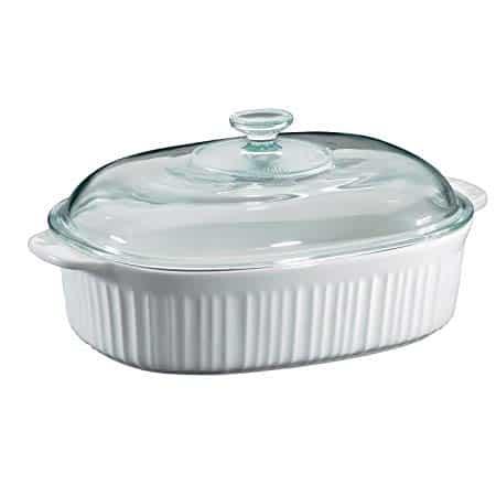 Corningware French White 4 Quart Oval Casserole W/Glass Cover